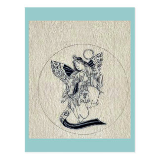 Woman with wings-religious figure postcards
