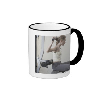 Woman working out with weights mug