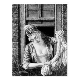 Woman wringing washing postcard