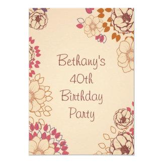 Woman's 40th Birthday Cute Modern Floral Card