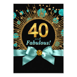 Womans 40th Birthday Party Teal Blue and Gold 4.5x6.25 Paper Invitation Card