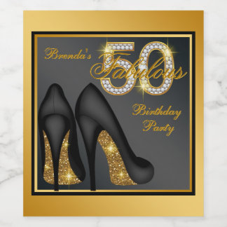 Womans 50th Birthday Wine Bottle Labels