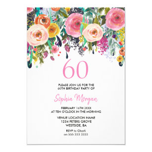 Womans 60th Birthday Party Invite Pink Flowers