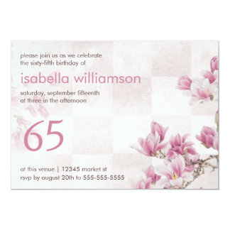 Woman's 65th Birthday Party | Mauve Magnolias Card