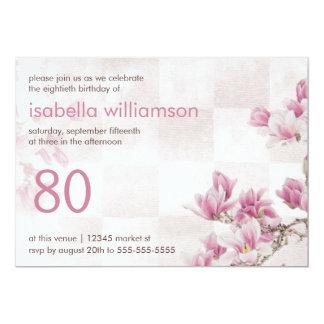 Woman's 80th Birthday Party | Mauve Magnolias 13 Cm X 18 Cm Invitation Card