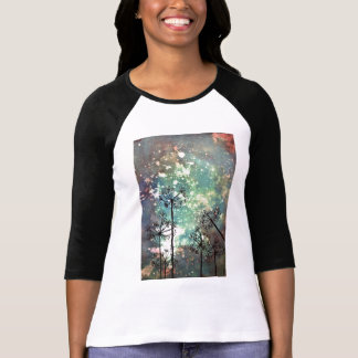 womans baseball top with cow parsley print.