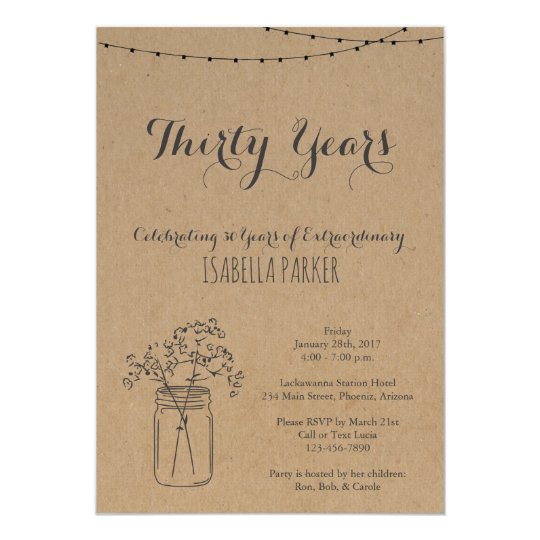 Woman's Birthday Invitation | Rustic Kraft Paper