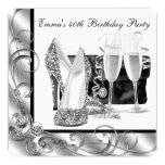Womans Black and White Birthday Party Personalized Invitation