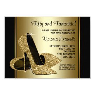 "Womans Black Gold High Heels Birthday Party 4.5"" X 6.25"" Invitation Card"