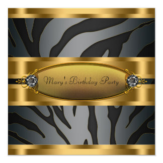 Womans Black Gold Zebra Birthday Party Card