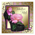 Womans Black Pink Gold 50th Birthday Party Invites