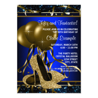 Womans Blue and Gold High Heel Birthday Party Announcements