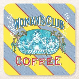 Woman's Club Coffee Square Paper Coaster