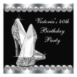 Womans Elegant Black 40th Birthday Party Personalised Announcement