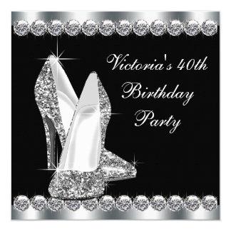 Womans Elegant Black Birthday Party 13 Cm X 13 Cm Square Invitation Card