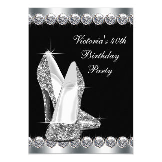 Womans Elegant Black Birthday Party 13 Cm X 18 Cm Invitation Card