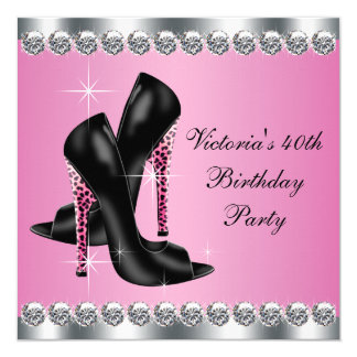 Womans Elegant Chic Pink Leopard Birthday Party Card