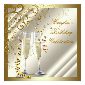 Womans Elegant Ivory Gold Birthday 13 Cm X 13 Cm Square Invitation Card
