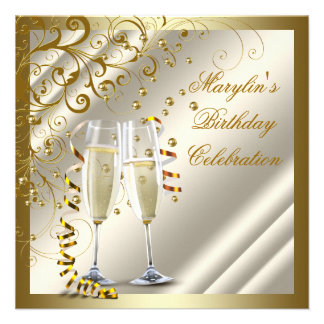 Womans Elegant Ivory Gold Birthday Announcement