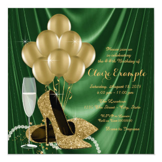Womans Emerald Green and Gold Birthday Party 13 Cm X 13 Cm Square Invitation Card