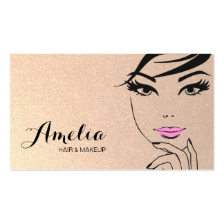 Woman's Face Beauty Salon & Spa Gold Pack Of Standard Business Cards
