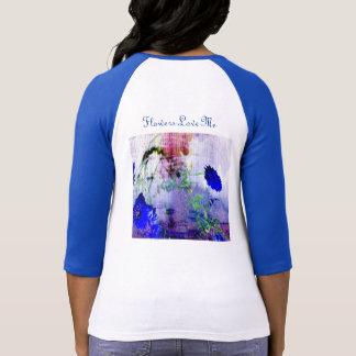 Woman's Flower T-Shirt. Cornflower blue sleeves T-Shirt