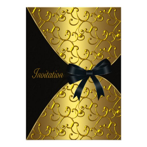 Womans Gold 50th Birthday Party Custom Invitation