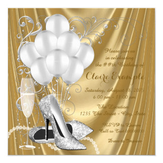 Womans Gold and Silver Birthday Party Luxe 13 Cm X 13 Cm Square Invitation Card