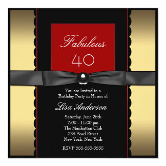 Womans Gold Black and Red Birthday Party Card