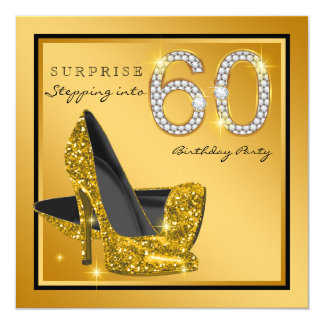 Womans Gold Surprise 60th Birthday Party Card