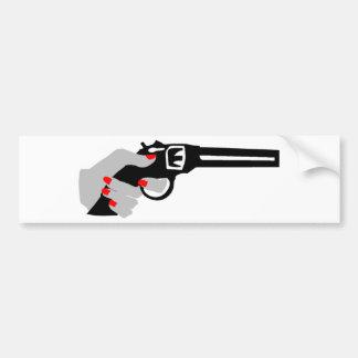 Woman's Hand and Gun Bumper Sticker
