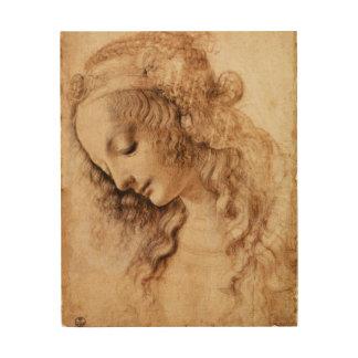 Woman's Head by Leonardo da Vinci Wood Print