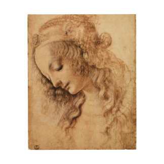 Woman's Head by Leonardo da Vinci Wood Prints