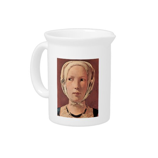 Woman's head frontally by Georges de La Tour Beverage Pitcher