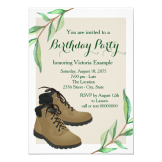 Womans Hiking Birthday Party Card