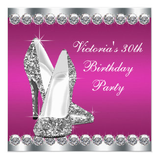 Womans Hot Pink Birthday Party 13 Cm X 13 Cm Square Invitation Card