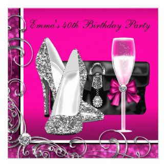 Womans Hot Pink Birthday Party Custom Invitation