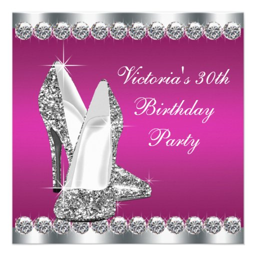 Womans Hot Pink Birthday Party Personalized Invite