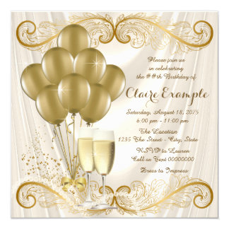 Womans Ivory Gold Birthday Party Champagne Glamour 13 Cm X 13 Cm Square Invitation Card