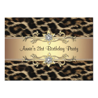 Womans Leopard Birthday Party 13 Cm X 18 Cm Invitation Card