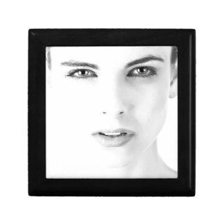 Woman's models face gift box