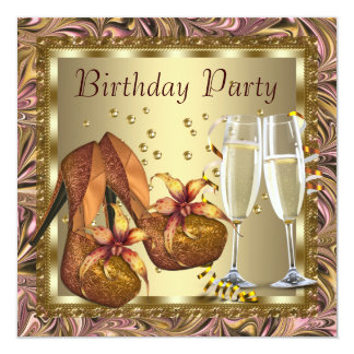 Womans Orange Pink Gold Birthday Party Card