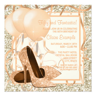 Womans Peach and Cream Birthday Party Custom Invitation