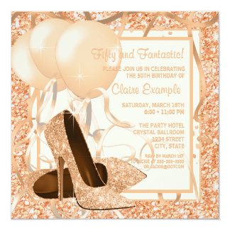 Womans Peach and Cream Birthday Party Invitations
