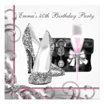 Womans Pink 40th Birthday Party Invitations