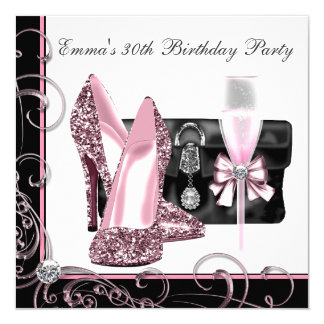 Womans Pink and Black Birthday Party Card