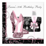 Womans Pink and Black Birthday Party 13 Cm X 13 Cm Square Invitation Card