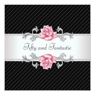 Womans Pink Rose 50th Birthday Party Personalized Invitation