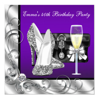 Womans Purple Birthday Party Card