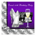 Womans Purple Birthday Party Custom Announcement